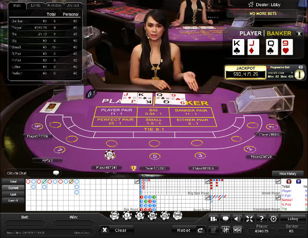 Bet365 have live dealers and the deposit bonuses can be used on baccarat - click image to visit