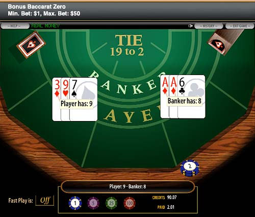 Bonus Baccarat Zero at 5Dimes offers increased payouts - click to visit